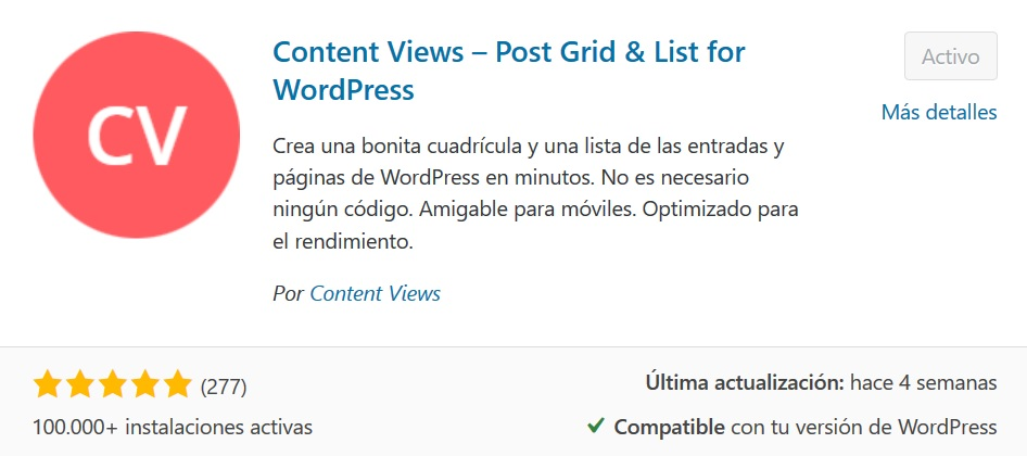 Instalar Plugin Content Views